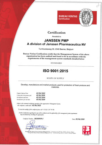 JANSSEN PMP is ISO 9001 certified